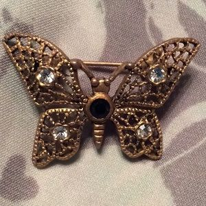 butterfly golden with rhinestones brooch pin